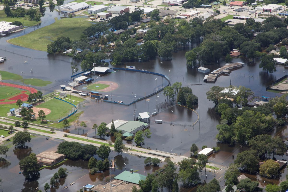 A flooded baseball field at the Gonzales Civic Center is seen in an aerial view in Gonzales, Louisiana, U.S. August 17, 2016. Louisiana Environmental Action Network/ Photo By Jeffrey Dubinsky/Handout via Reuters