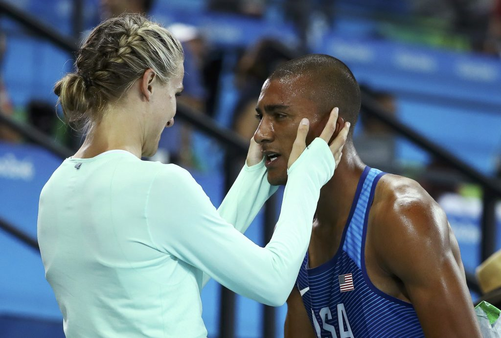 Ashton Eaton and his wife Brianne Theisen-Eaton after winning the gold. Photo by Lucy Nicholson/Reuters