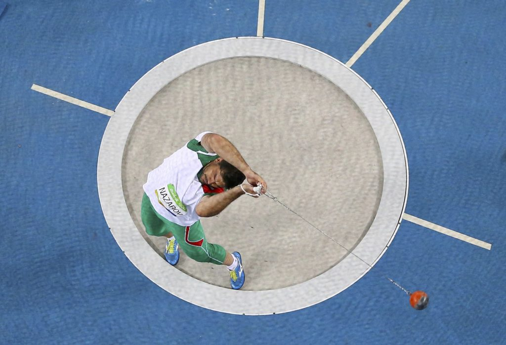2016 Rio Olympics - Athletics - Final - Men's Hammer Throw Final - Olympic Stadium - Rio de Janeiro, Brazil - 19/08/2016. Dilshod Nazarov (TJK) of Tajikistan competes. REUTERS/Pawel Kopczynski FOR EDITORIAL USE ONLY. NOT FOR SALE FOR MARKETING OR ADVERTISING CAMPAIGNS. - RTX2M6RB
