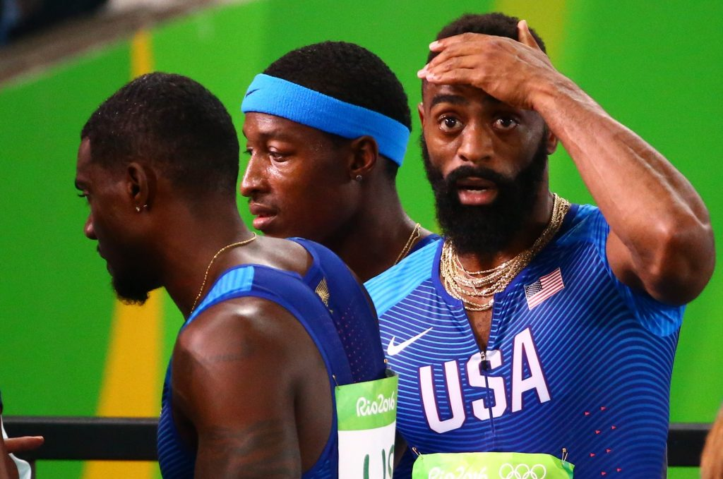 2016 Rio Olympics - Athletics - Final - Men's 4 x 100m Relay Final - Olympic Stadium - Rio de Janeiro, Brazil - 19/08/2016. Mike Rodgers (USA) Justin Gatlin (USA) and Tyson Gay (USA) of USA react as they realise they have been disqualified REUTERS/David Gray FOR EDITORIAL USE ONLY. NOT FOR SALE FOR MARKETING OR ADVERTISING CAMPAIGNS. - RTX2M7JB