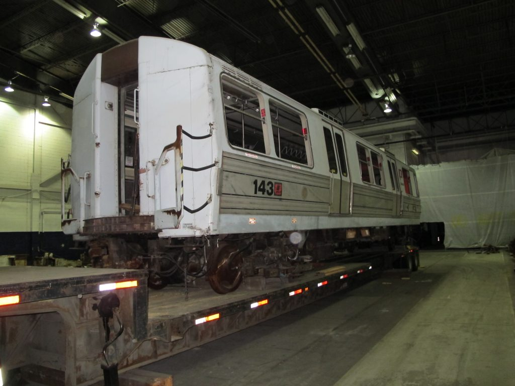 A portion of rail car #143 that once shuttled passengers between New York and New Jersey is shown here in 2011. The artifact was eventually donated to the Shore Line Trolley Museum in Connecticut. Photo By Amy Passiak