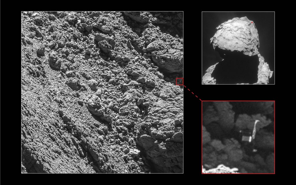 Rosetta spotted the Philae lander on Sept. 2, 2016 from a distance of 2.7 kilometers (1.6 miles). Philae's three-foot-wide body and two of its three legs can be seen extended from the body. Photo by European Space Agency