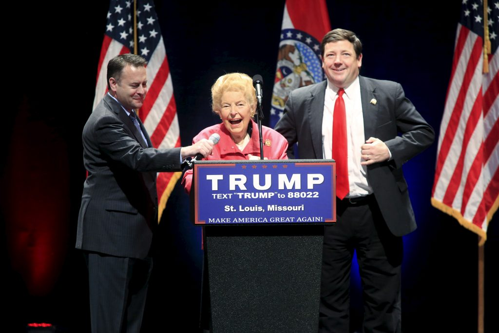 Conservative activist Phyllis Schlafly introduces Republican presidential candidate Donald Trump at the Peabody Opera House in St. Louis, Missouri, on March 11. Photo by Aaron P. Bernstein/Reuters