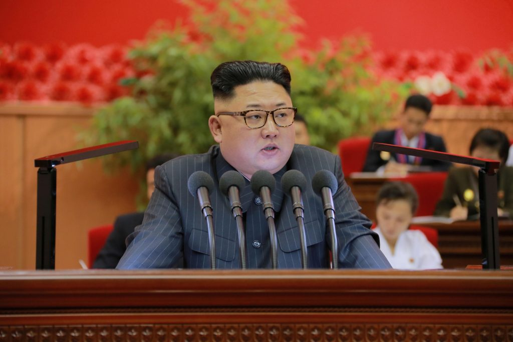North Korean leader Kim Jong Un gives a speech in this undated photo released by North Korea's Korean Central News Agency (KCNA) in Pyongyang in August 2016. Photo by KCNA via Reuters