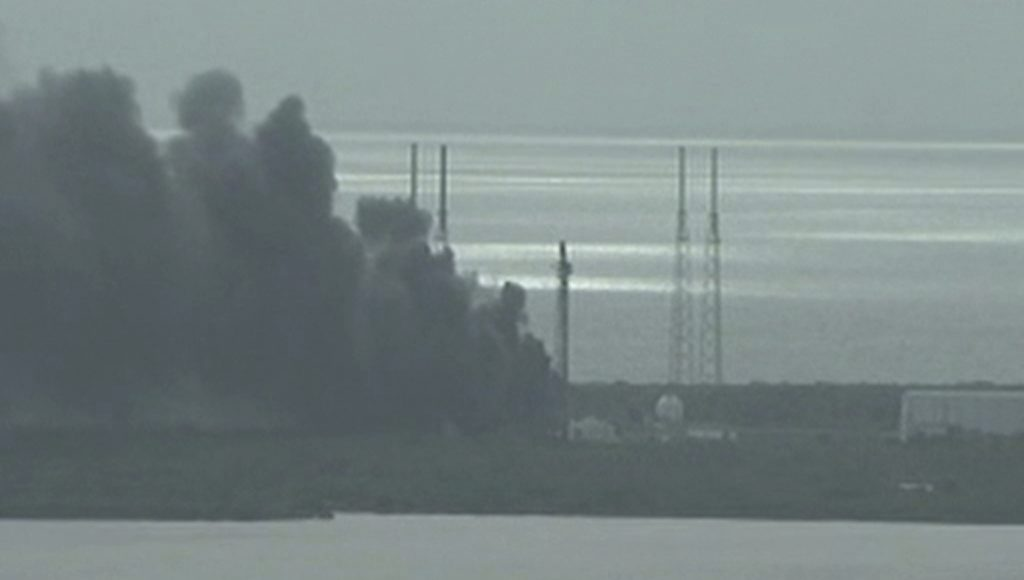 A still image taken from video of smoke rising on the launch site of SpaceX Falcon 9 rocket in Cape Canaveral, Florida, September 1, 2016.  Photo by NASA TV/Handout via REUTERS