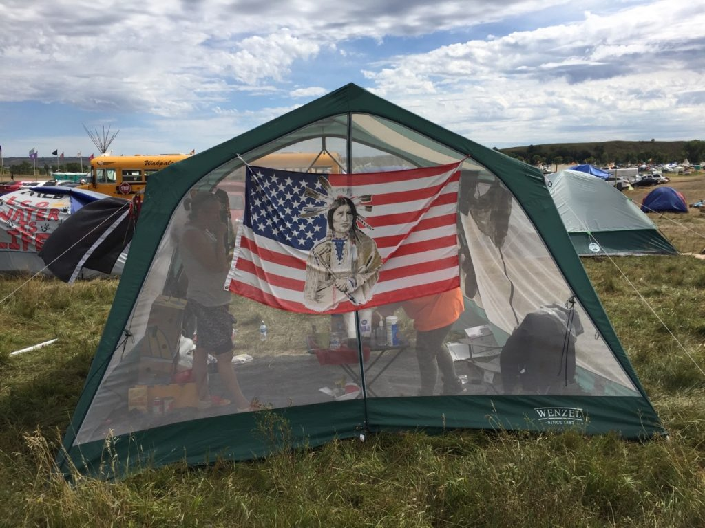 Tents stand in an encampment built by protesters who hope to stop construction of the Energy Transfer Partners' Dakota Access oil pipeline in North Dakota. Photo by Mike Fritz