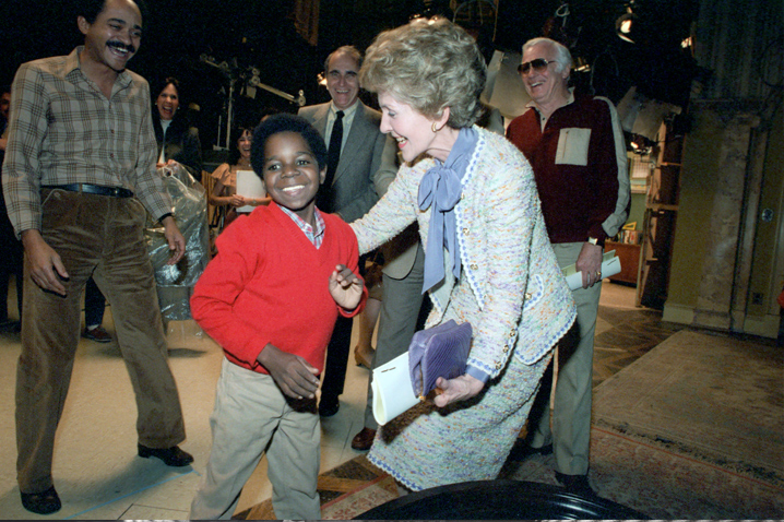 "March 8, 1983 - Mrs. Reagan tapes an episode of ""Diff'rent Strokes"" in hopes of exposing more children to her anti-drug message. Photo: Reagan Library"