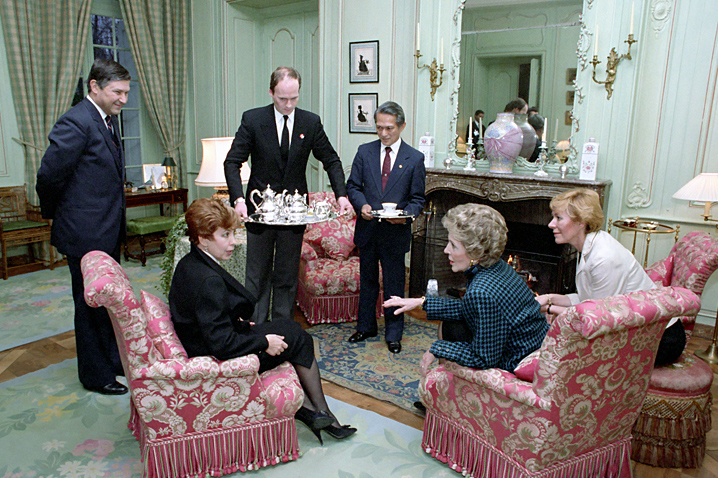 November 19, 1985 - The first lady accompanies President Reagan to Geneva, Switzerland where they meet the Gorbachevs. She encourages the president to talk one on one with the Soviet leader while she has tea with Mrs. Gorbachev.