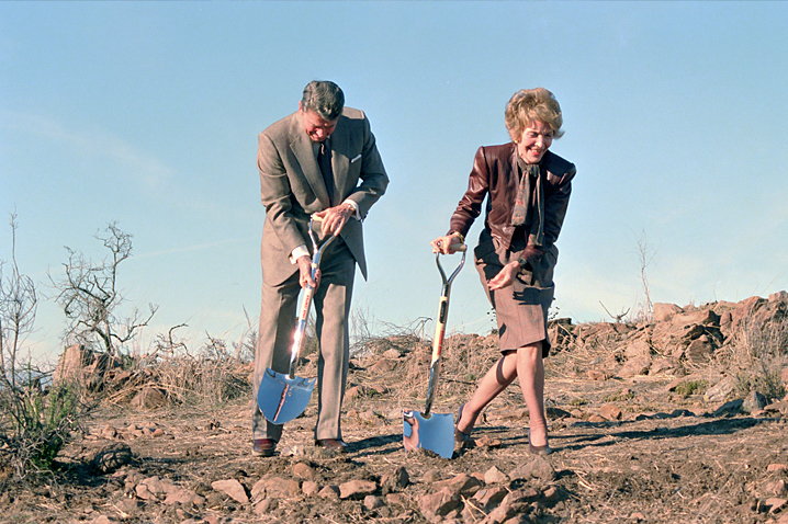 November 21, 1988 - The Reagans break ground at the Reagan Library in Simi Valley, California. The Library becomes an important place for Mrs. Reagan as she helps the nation remember her husband's presidency.