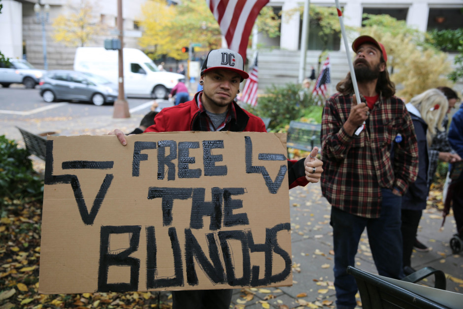 "Puyallup, Washington, resident Brian Edgin said, ""it's a sad day in America when our own government doesn't support the Constitution of America."" Photo by Conrad Wilson/OPB"