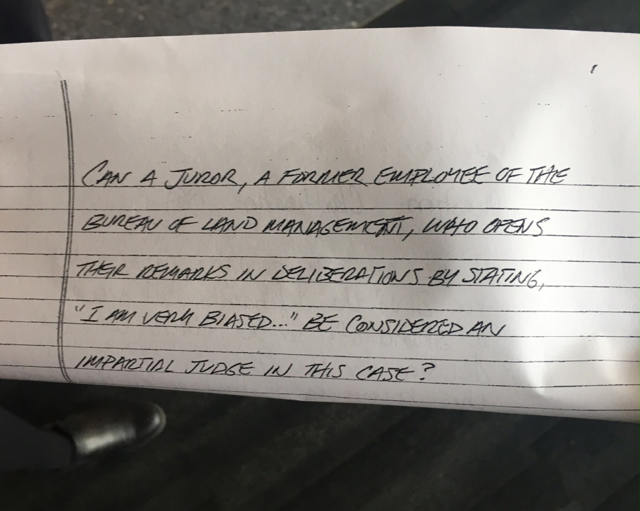 In a note to U.S. District Judge Anna Brown, the jury raised questions about the impartiality of one of its members in the Oregon standoff case. Brown has sent a note back to the jury asking them for clarification. Photo by Amelia Templeton/OPB