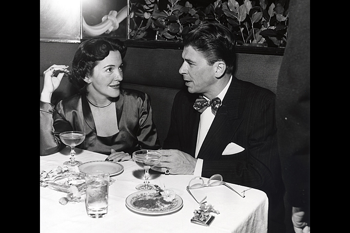 November 15, 1949 - Nancy Davis meets the president of the Screen Actor's Guild for dinner at La Rou's in order to gain his assurance that she will not be blacklisted like many Hollywood stars. His name is Ronald Reagan. Photo: Geri Bauer