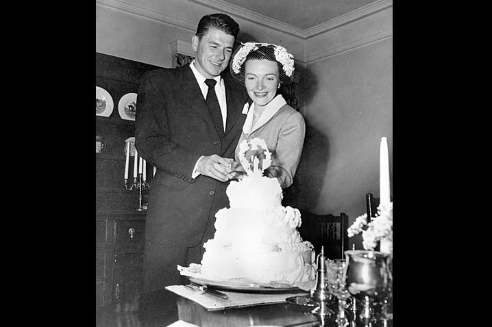 March 4, 1952 - Nancy Davis marries Ronald Reagan at the Little Brown Church in Studio City, California. Photo Reagan Library