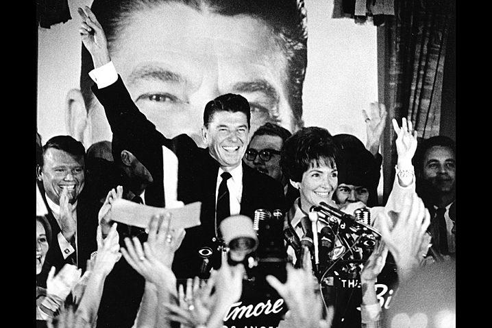November 8, 1966 - Supporters cheer as Nancy Reagan stands by her husband, the Governor-elect of California, whose campaign she supported by hosting luncheons and participating in Q&A sessions around the state. Photo: Reagan Library