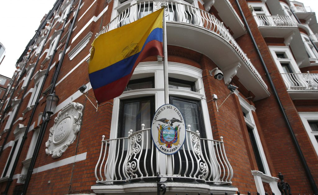 A national flag flies outside the Ecuadorian Embassy where WikiLeaks founder Julian Assange is taking refuge, in London, Britain September 16, 2016. Photo by Peter Nicholls/REUTERS