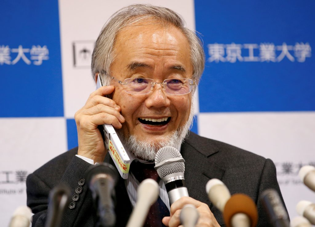 Yoshinori Ohsumi, a professor of Tokyo Institute of Technology, attends a news conference after he won the Nobel medicine prize at Tokyo Institute of Technology in Tokyo, Japan, October 3, 2016. Photo by REUTERS/Kim Kyung-Hoon