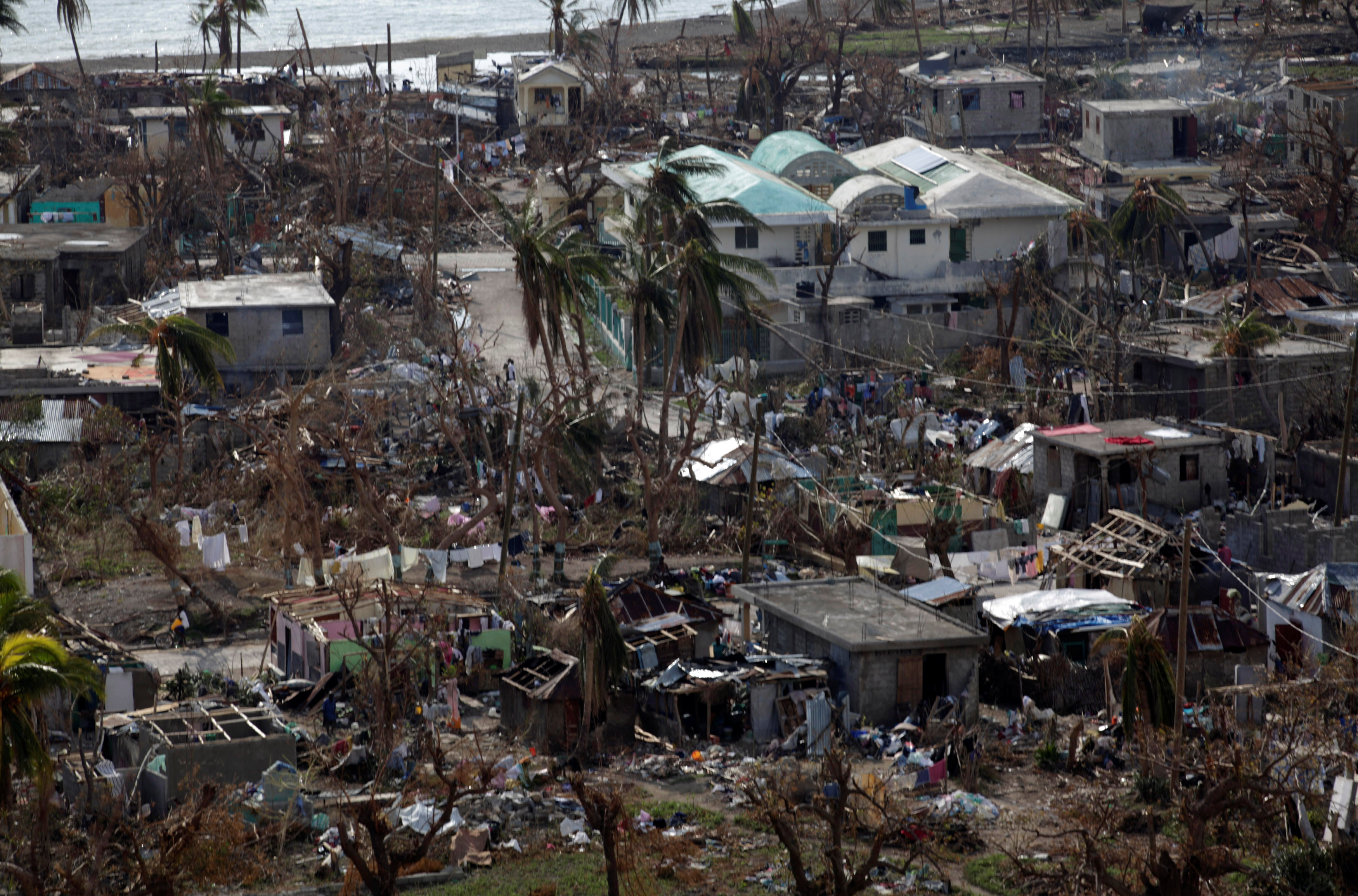 Hurricane destruction was heavy in Coteaux in the southern tip of Haiti. The United Nations estimated that at least 350,000 people were in need of humanitarian aid after the storm. Photo by Andres Martinez Casares/Reuters