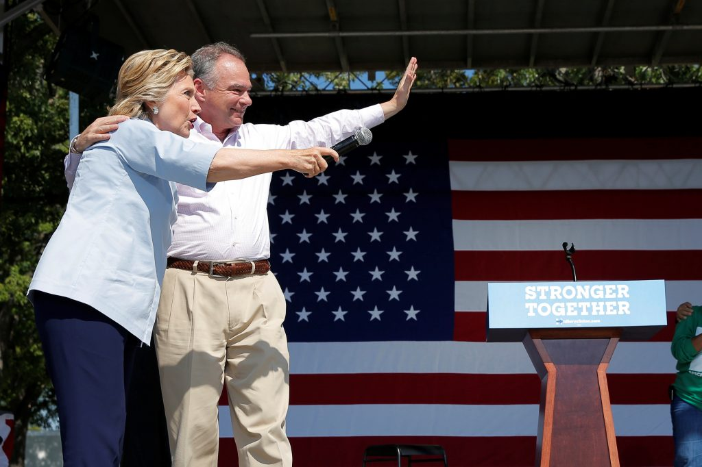 U.S. Democratic presidential candidate Hillary Clinton is joined by her running mate, vice-presidential candidate and U.S. Senator Tim Kaine, during a campaign stop at the 11th Congressional District Labor Day Parade and Festival in Cleveland, Ohio, United States September 5, 2016. REUTERS/Brian Snyder - RTX2O912