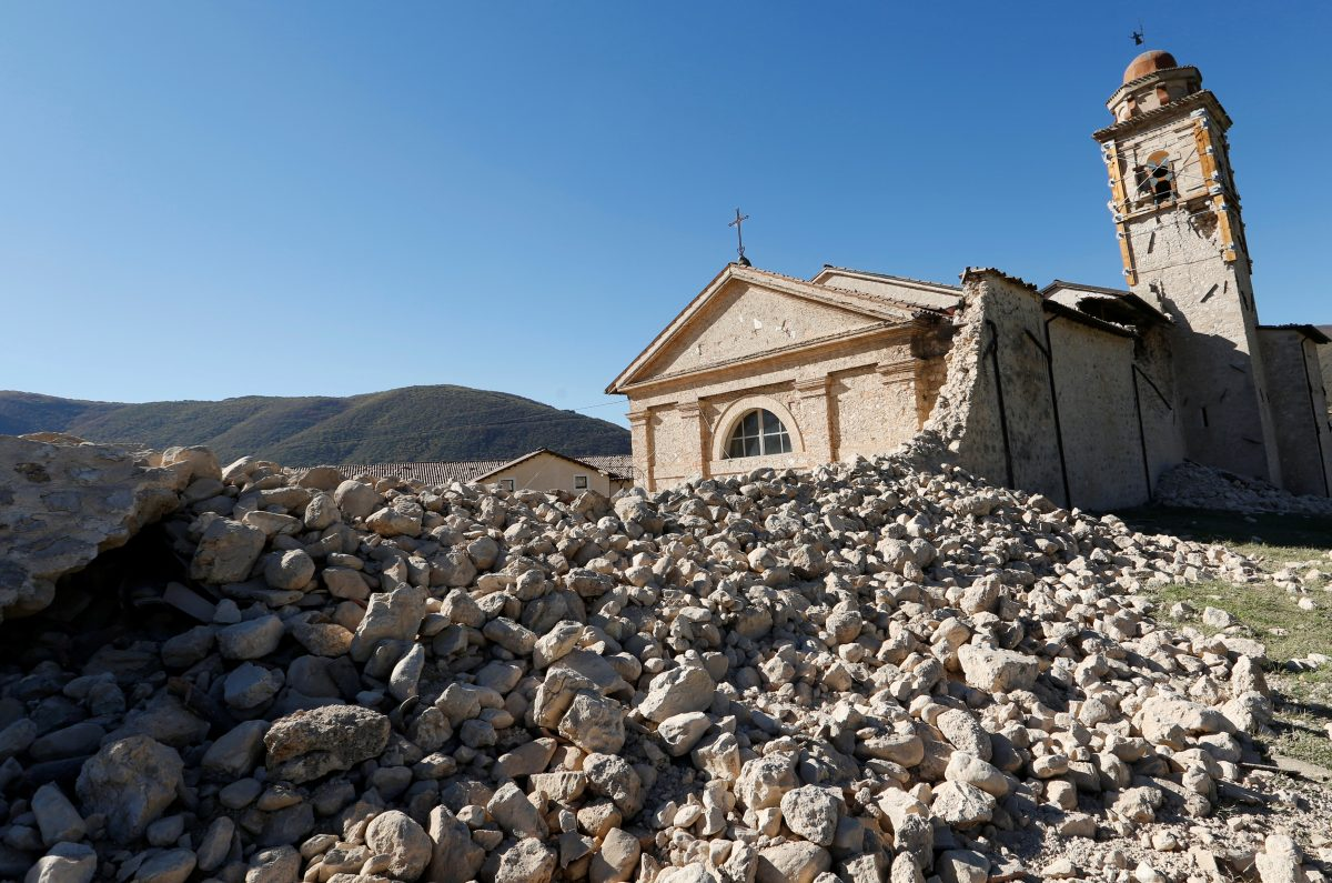 Saint Anthony church is seen partially collapsed following an earthquake along the road to Norcia, Italy, October 30, 2016. Photo By Remo Casilli/Reuters