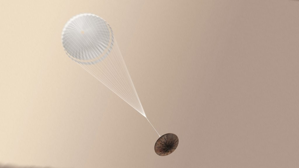 Artist impression of the ExoMars Schiaparelli module after the parachute has been deployed. Photo by European Space Agency/ATG medialab