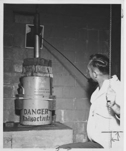 Early eradication programs in the 1950s involved sterilizing male screwworm flies with cobalt-60 gamma ray radiation.  Dr. Edward F. Knipling (pictured) and Dr. Raymond C. Bushland pioneered the technique. Photo by USDA Agricultural Research Service