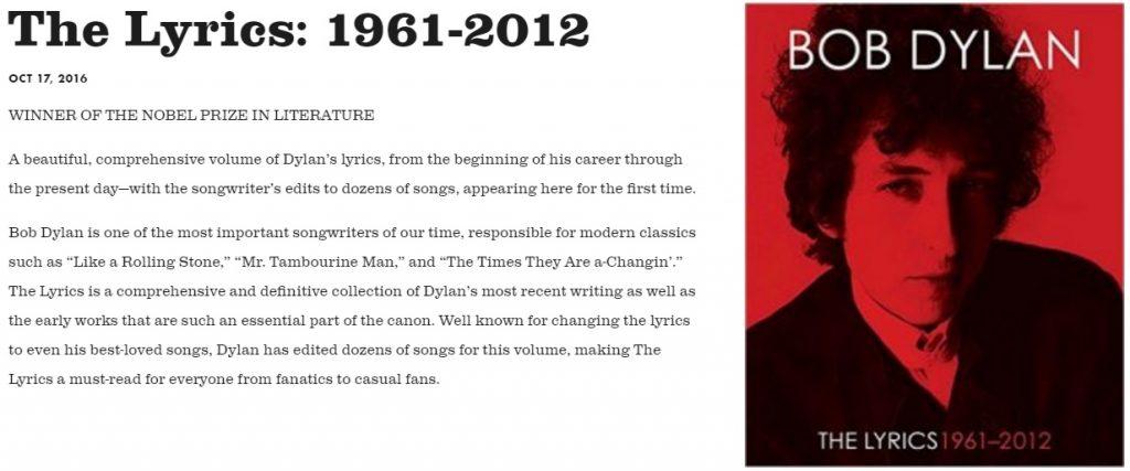 Screenshot of the Nobel Prize mention on Dylan's website.