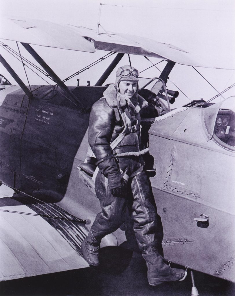 As an 18-year-old Tennessee Air National Guardsman, Bob Hoover trained as a tail gunner in Douglas O-38 observation craft. Photo courtesy of the Air Force Flight Test Center History Office