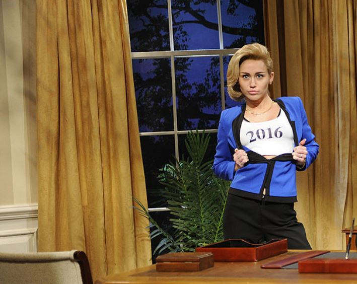 "Miley Cyrus as Hillary Clinton on ""Saturday Night Live."" (Photo by Dana Edelson/NBC/NBCU Photo Bank via Getty Images"