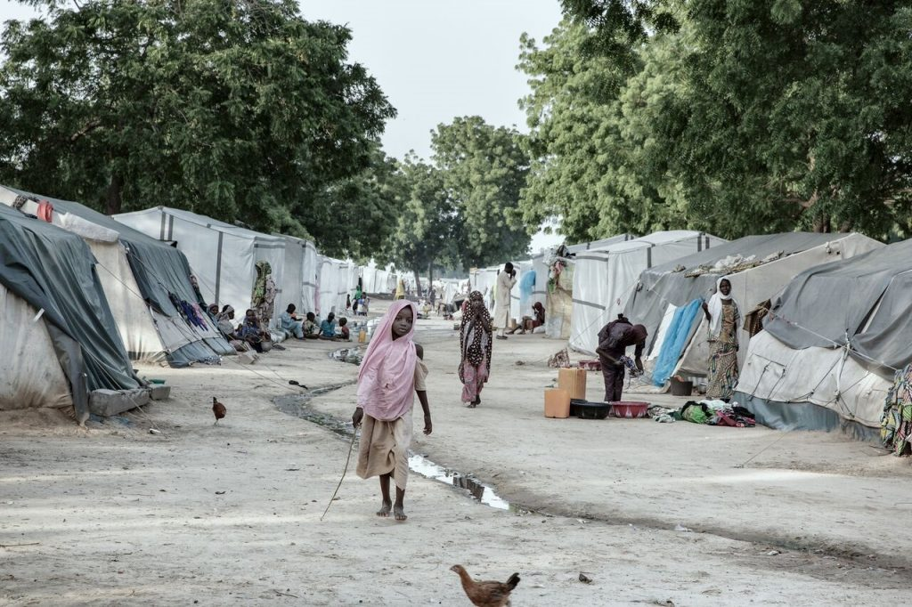 Photo of displacement camp in northeastern Nigeria by Carol Allen Storey for International Alert