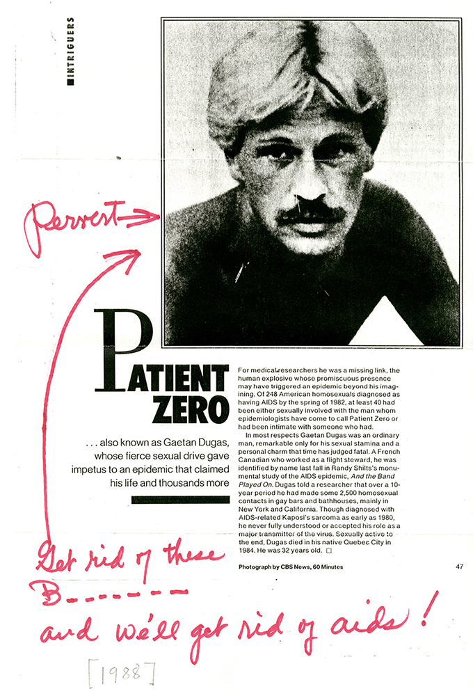 An annotated clipping sent to San Francisco AIDS Foundation of a People Magazine story about Gaëtan Dugas circa 1988. Photo via NIH