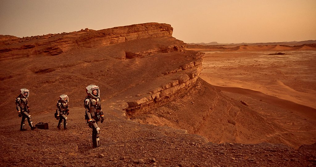 Some of the Daedalus crew exploring Mars. Photo by National Geographic Channels/Robert Viglasky