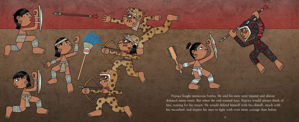 "Art from ""The Princess and the Warrior"" by Duncan Tonatiuh. Image provided by Abrams"