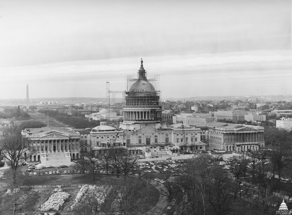 Capitol Dome Restoration Work 1959-1960. Photo courtesy of Architect of the Capitol