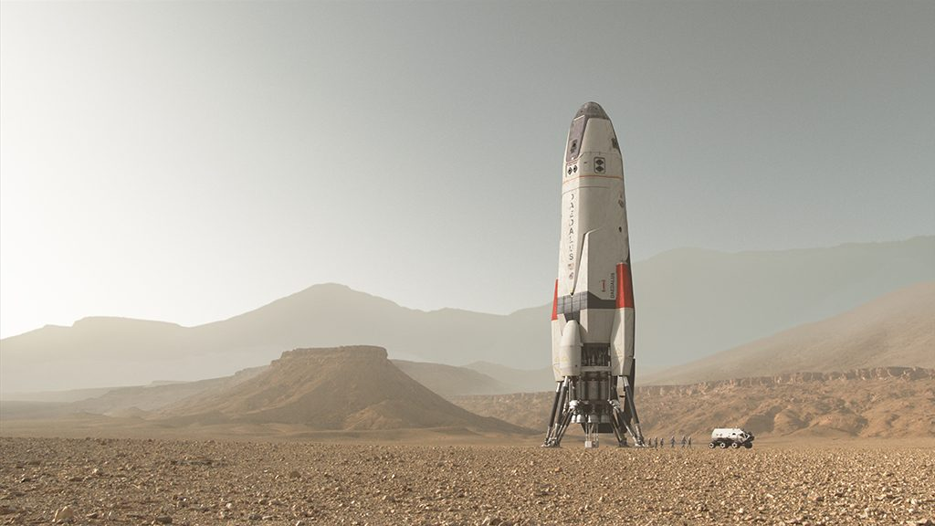 The Daedalus on Mars.  Some of the Daedalus crew exploring Mars. Image courtesy of Framestore