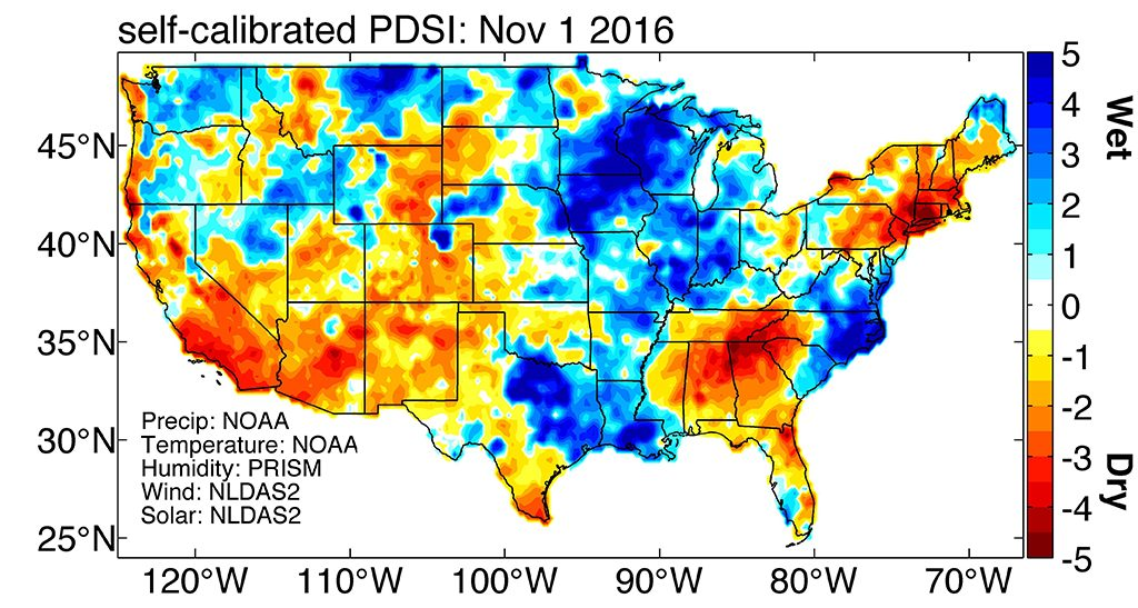 U.S. drought conditions -- wetness and dryness -- on November 1, 2016 as measured by the  Palmer Drought Severity Index (PDSI). Image by Park Williams