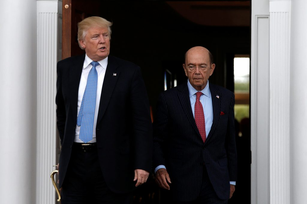 File photo of President-elect Donald Trump with Wilbur Ross by Mike Segar/Reuters