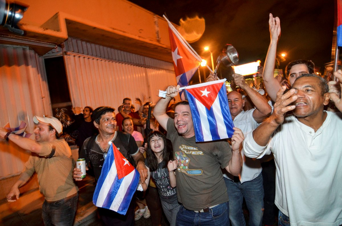 People celebrate the death of Cuban leader Fidel Castro, in Little Havana, Miami, Florida, U.S. November 26, 2016.  REUTERS/Gaston De Cardenas  - RTSTDC8