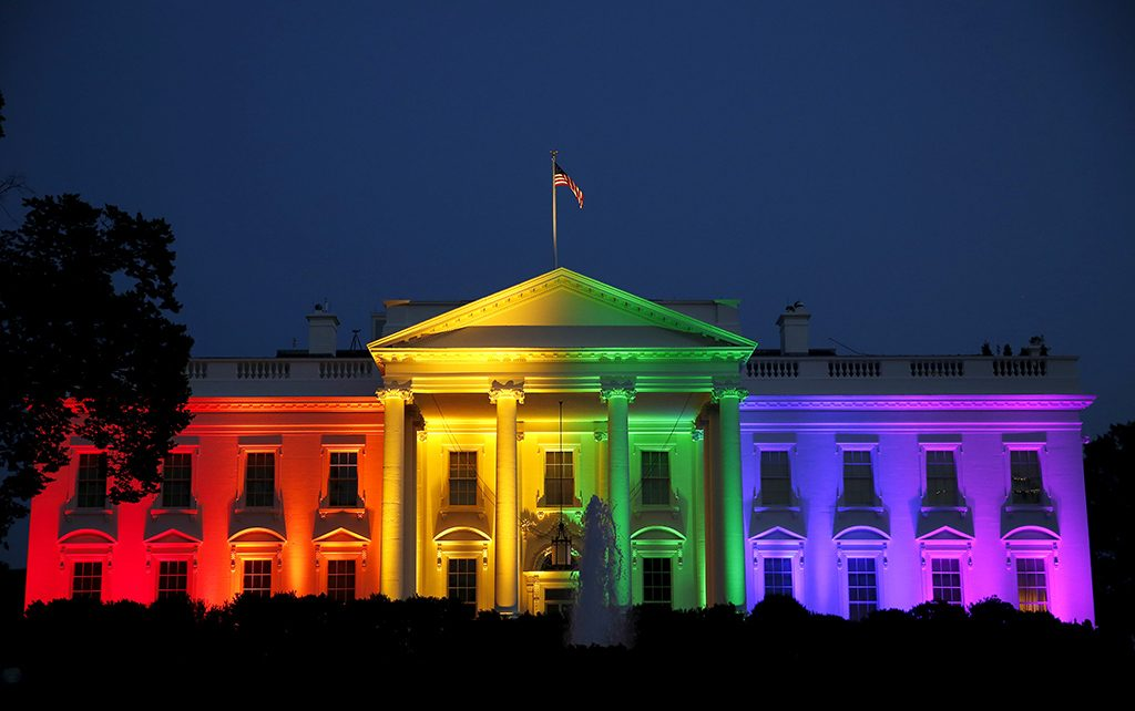 The White House illuminated in rainbow colors after the Supreme Court ruled in favor of legalizing gay marriage on June 26, 2015.  Photo by Gary Cameron/REUTERS
