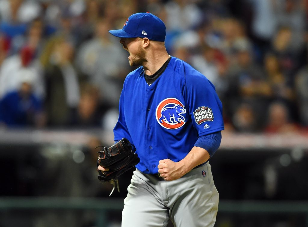 Chicago Cubs pitcher Jon Lester (34) reacts after retiring the Cleveland Indians in the 7th inning in game seven of the 2016 World Series at Progressive Field. Photo by Tommy Gilligan/USA TODAY Sports