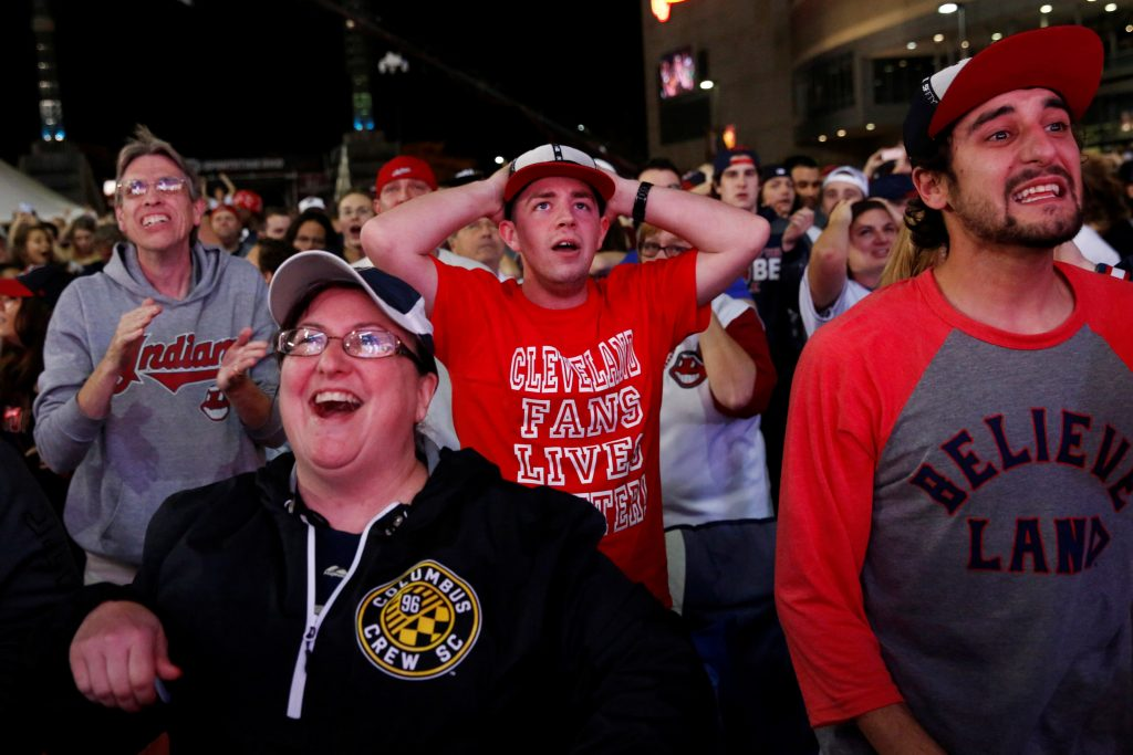 Fans of American League baseball team Cleveland Indians react outside Progressive Field while watching Game 7 of their Major League Baseball World Series game against National League's Chicago Cubs in Cleveland, Ohio. Photo by Shannon Stapleton/Reuters