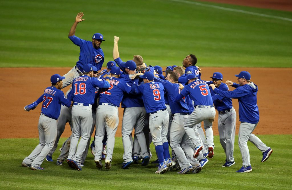 Chicago Cubs players celebrate after defeating the Cleveland Indians in Game 7 of the 2016 World Series at Progressive Field. Photo by Charles LeClaire/USA TODAY Sports