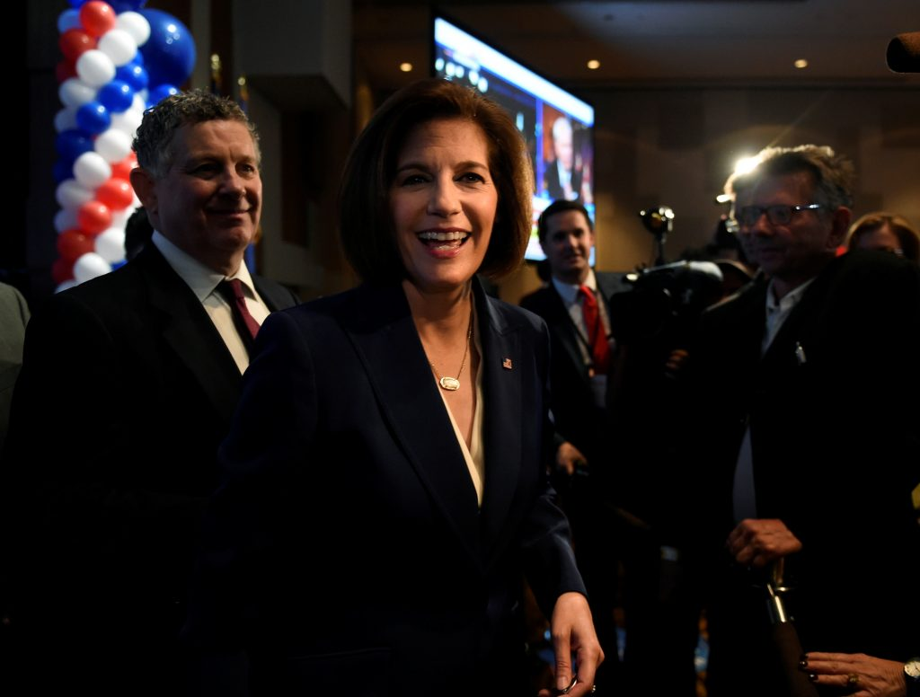 Democrat Catherine Cortez Masto greets supporters after speaking at the Nevada state democratic election night event in Las Vegas. Photo by David Becker/Reuters.