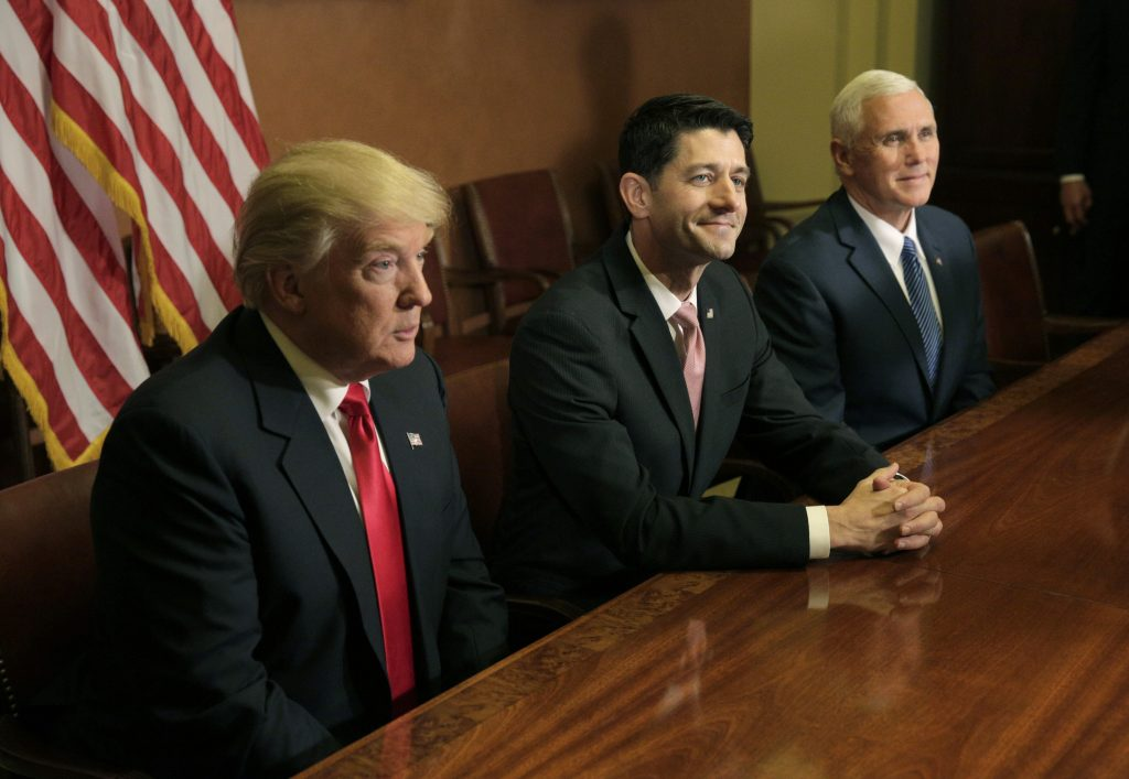 President-elect Donald Trump (L) meets with Speaker of the House Paul Ryan (R-WI) (C) and Vice-President elect Mike Pence on Capitol Hill in Washington. Photo by Joshua Roberts/Reuters
