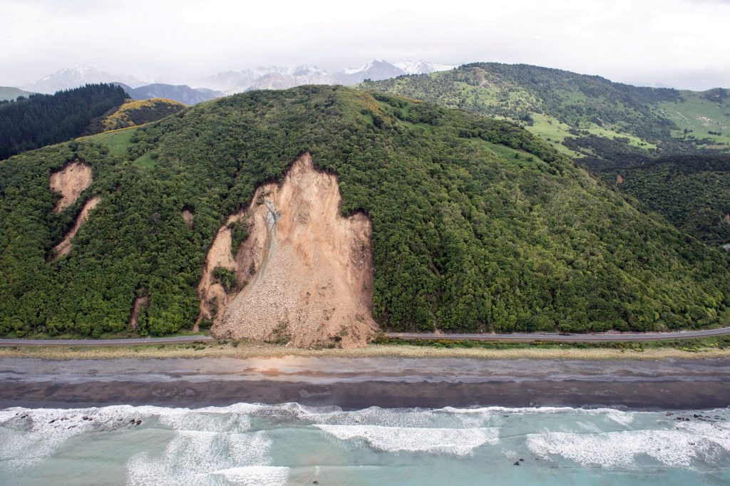 Landslides block State Highway One on the upper east coast of New Zealand's South Island following an earthquake. Photo by Sgt. Sam Shepherd/Courtesy of Royal New Zealand Defense Force/Handout via Reuters