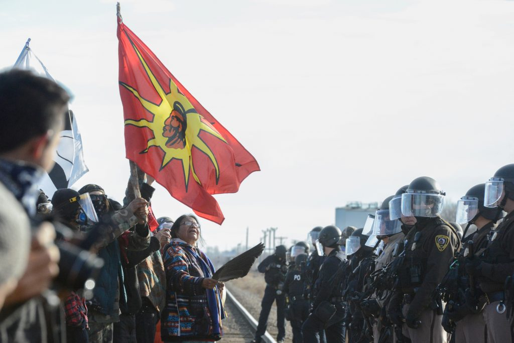 Protesters have a stand off with police during a demonstration against the Dakota Access pipeline near the Standing Rock Indian Reservation in Mandan, North Dakota. Photo by Stephanie Keith/Reuters