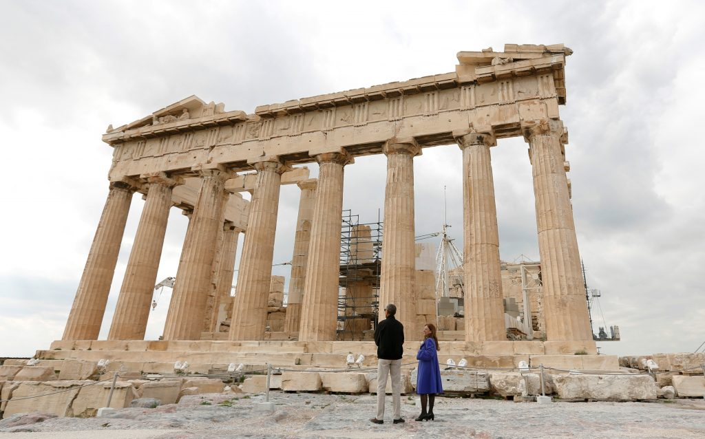 President Barack Obama tours the Parthenon at the Acropolis with Dr. Eleni Banou from the Ministry of Culture in Athens, Greece. Photo by Kevin Lamarque/Reuters