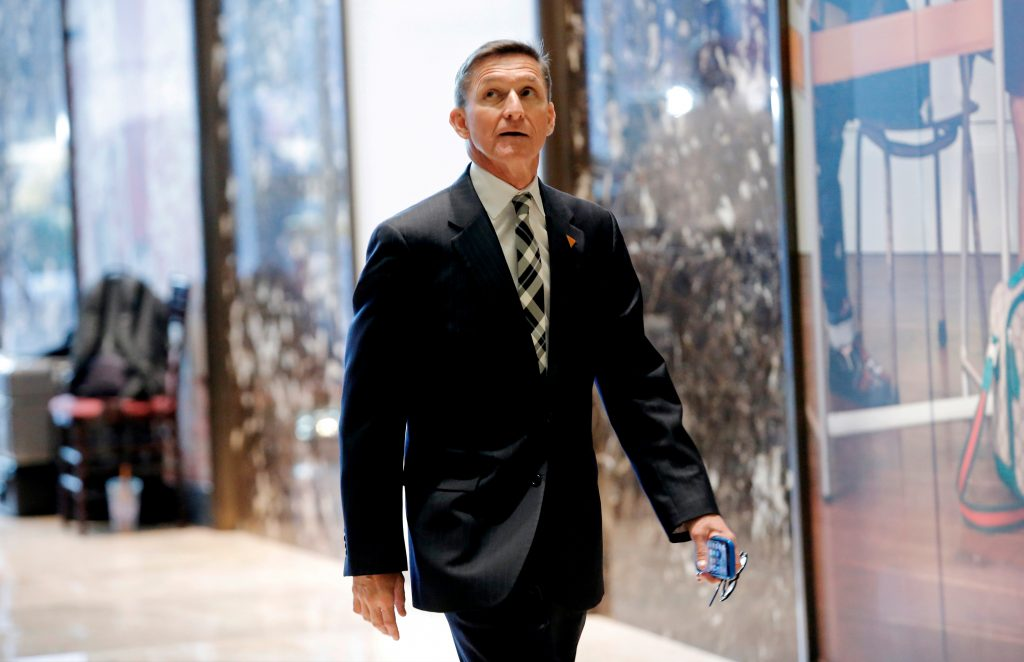 Retired U.S. Army Lieutenant General Michael Flynn arrives to meet with President-elect Donald Trump at Trump Tower in Manhattan, shortly after Trump's election victory.  Photo by REUTERS/Mike Segar/File Photo.