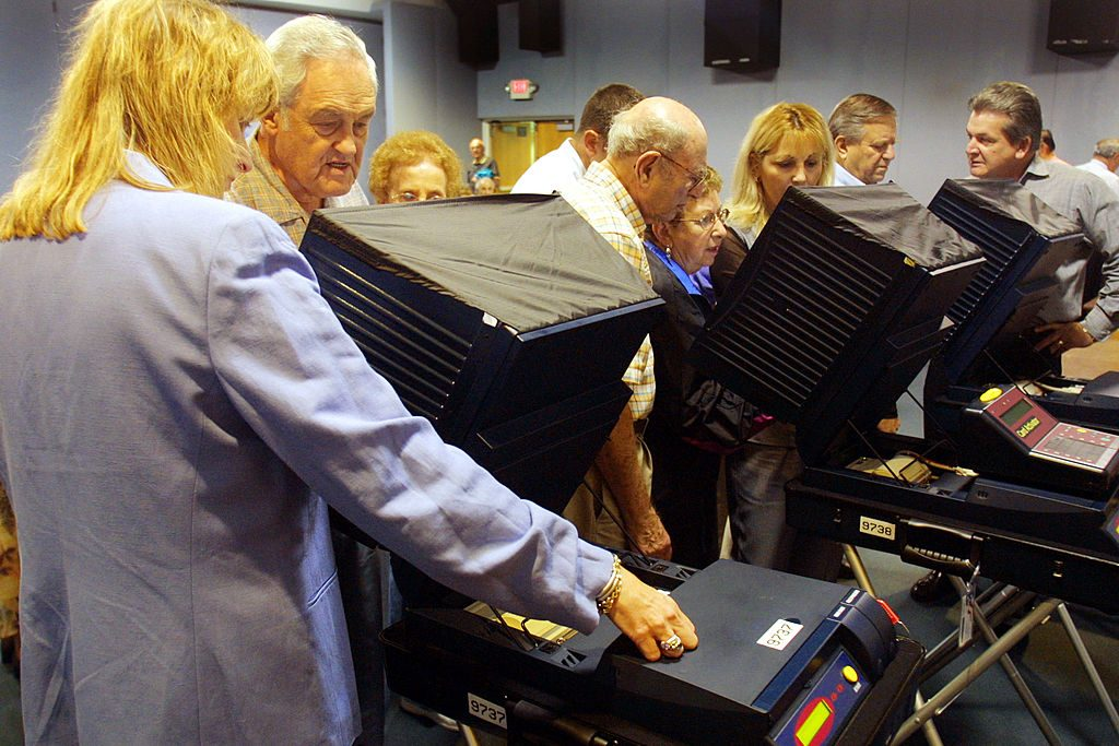 Sequoia electronic voting machine. Photo by Joe Raedle/Getty Images