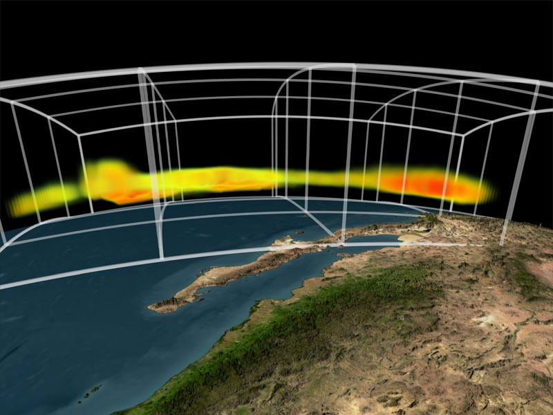 NASA's Atmospheric Infrared Sounder instrument is able to peel back cloud cover to reveal 3-D data of a storm's water vapor content, information that can be used to improve weather forecast models. Photo by NASA/GSFC