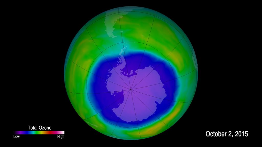 The 2015 Antarctic ozone hole area was larger than the continent of North America, based on research by NASA and NOAA. Photo by NASA/Goddard Space Flight Center